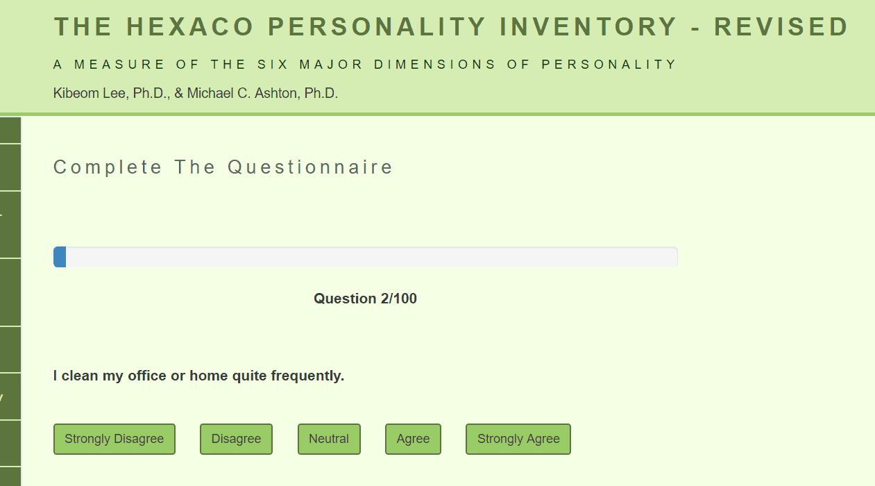 Hexaco Personality Inventory Test