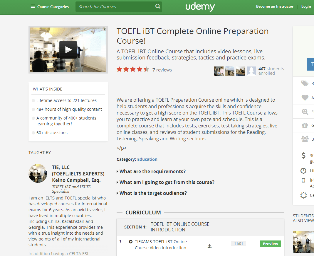 TOEFL iBT Complete Online Preparation Course